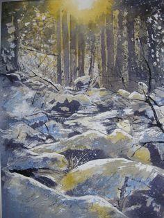 """Renate Schmidt """"Licht im Winterwald"""" Aquarell"""