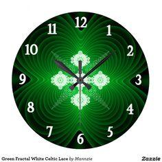 Green Fractal White Celtic Lace Large Clock
