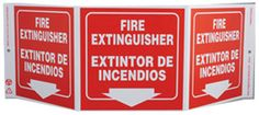 "Safety Sign ""Fire Extinguisher/Extintor De Incendios"" Standard Tri-View® Bilingual"