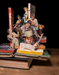 How Paperbacks Transformed the Way Americans Read / Andrew Shaffer + Illustration by Thomas Allen Thomas Allen, Art Thomas, Stop Motion, Libros Pop-up, Transformers, Altered Book Art, And So It Begins, Book Sculpture, Paper Sculptures