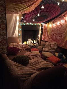 Cozy Boho Winter Room With Lots Of Pillows Curtains And