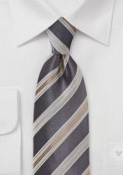 XXL-Krawatte südländische Streifen dunkelgrau günstig kaufen