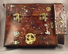 Steampunk leather bag by IsilWorkShop on Etsy