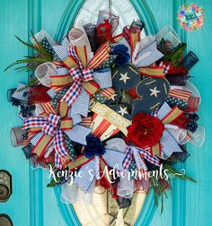 Americana Wreath Patriotic Wreath Mesh Patriotic Wreath 4th