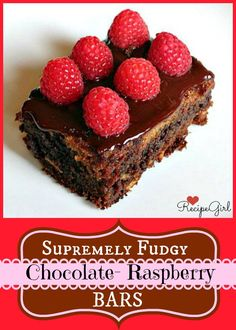 Fudgy Chocolate Raspberry Bars #chocolate #recipe