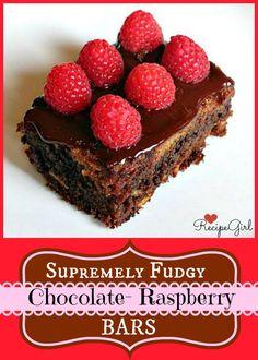 Fudgy Chocolate Raspberry Bars chocolate recipe from RecipeGirl.com.