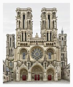 Markus Brunetti's Laon Cathedral Façade Photographs at Yossi Milo Gallery Architecture Antique, Romanesque Architecture, Cathedral Architecture, Religious Architecture, Classic Architecture, Architecture Drawings, Beautiful Architecture, Landscape Architecture, Architecture Romane