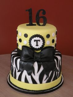 16 for Girl Sweet Extreme Cakes | Yellow Zebra Sweet 16 - by cakechickdani @ CakesDecor.com - cake ...
