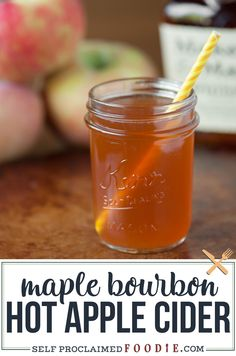 Warm Maple Bourbon Apple Cider is a fantastic fall and holiday cocktail made with apple cider, whiskey, lemon juice and pure maple syrup. Super easy to make! #apple #cocktail #cider #bourbon #whiskey #easy #warm Apple Cider Mixed Drink, Bourbon Apple Cider, Apple Cider Alcohol, Warm Apple Cider, Bourbon Whiskey, Hot Apple Cider Cocktail, Cider Cocktails, Fall Cocktails, Fall Drinks