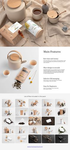 Collection of branding PSD mockup templates featuring different tea packagings, teacups, pot, tea leaves, many stationery objects and elements | #branding #mockup #packaging #tea #brewery #matcha #teahouse #template #psd #photoshop #stationery #generator #creator #print #retail #package #packing #packaging #brew #blend #pot #minimal #kitchen #restaurant #food #presentation #showcase #light #elegant #flatlay #identity #bundle #set #collection #product #jar #can #container #business #card…