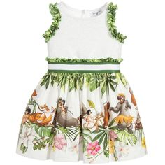 An adorable whiteMonnalisa Bimba dress with a cute Disney print of characters from The Jungle Book story on the cotton cloth skirt. The front of the jersey top is embellishedwith white sequins and it has pretty ruffle trims. The tulle frills attached to the cotton lining add a lovely full look to the flared skirt.