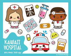 BUY MORE AND SAVE! CHECK OUT THE SHOPS BANNER FOR COUPON CODES!  ****************************************************  The Kawaii Hospital set will be perfect for planner stickers, pins, magnets, greeting cards, websites and much more!  YOU WILL RECEIVE - 20 PNG files 300 dpi for