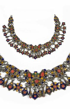 Algeria | Silver, enamel and coral necklace. Great Kabylia, Benni Yenni | ca. early 20th century | 1800€ ~ sold (May '14)