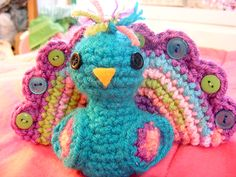 "Peacock amigurumi. One pinner made me laugh and said, ""I'll be right back... gonna go make this."""