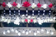 White & Red Calla Lily Bridal Bouquet Set by SilkFlowersByJean, $529.00