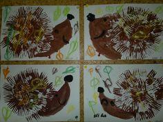 ježek - otiskování vidličky Autumn Art, Autumn Theme, Ecole Art, Kindergarten Art, Art Plastique, Teaching Art, Fall Crafts, Art Education, Art For Kids