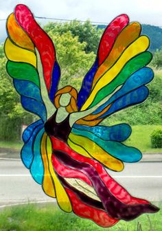 WICOART WINDOW COLOR STICKER STATIC CLING STAINED GLASS VITRAIL COLORFULL ANGEL