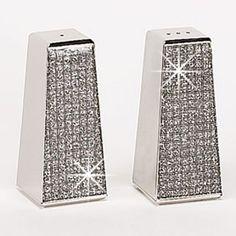 Glitter Galore Salt & Pepper Shaker Set in Silver- a little bling for the dining room table ;)