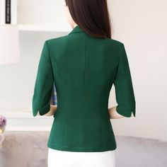 2017 Women Work Business Solid Single Button Notched Collar Largest Size 4XL Female Green blazers and jackets Tops Y324