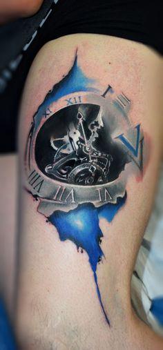 Old Clock Watercolour,clock watercolor,watercolor Tattoo,watercolour Tattoo,Ted Bartnik: