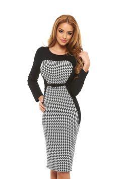 StarShinerS Distinction Black Dress Daily Dress, Fabric Textures, Dress Cuts, Office Fashion, Clothing Items, Printing On Fabric, Peplum Dress, Coat, Long Sleeve