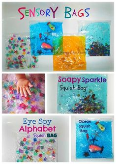 These could be themed for storytimes. Gallon bags, hair gel, glitter, themed items, packing tape. *skills: sensory (touch and texture), coutning, compare/contrast