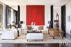 red + black + white - clean, simply, comfortably, luxury living room