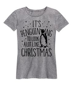 Instant Message Womens Athletic Heather Penguin-ing to Look Relaxed-Fit Tee - Women Penguin Love, Cute Penguins, Penguin Clothes, Penguin Pictures, Look T Shirt, Athletic Women, Form, Cool Shirts, That Look