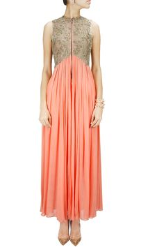 Peach kasab embroidered sheer pleated jacket BY RIDHIMA BHASIN.