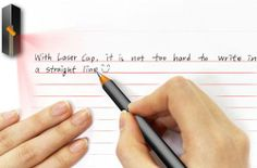pen cap with laser beam showing lines