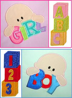 Baby applique Design Set for Embroidery Machine. $4.99, via Etsy.