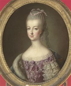 Painted by François-Hubert Drouais 1773, when she was eighteen and still the Dauphine.