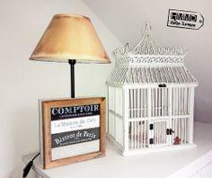 Lámpara vintage para mesita de noche con caja de té de madera, original y romántica by handmademaniadecor, HMMD vintage lamp old wood_night_bedroom_romantic