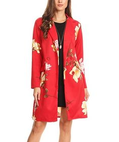 Look what I found on #zulily! Red Floral Lapel Jacket - Plus Too #zulilyfinds