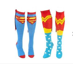 Comics Superman and Wonder Woman Couple Caped Knee Socks 4 Patterns Brand New by QueenboxesCom on Etsy https://www.etsy.com/listing/238500707/comics-superman-and-wonder-woman-couple