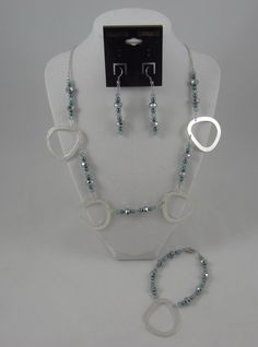 Silver and Blue Charm Necklace with Matching by SummerCAmber, $40.00