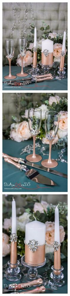 Rose gold is contemporary, sophisticated and works well with other colors. Its application will have a big impact on your wedding look and can be great on cakes, wedding decor (wedding toasting glasses, cake set and unity candles) and as the inspiration for your centerpieces.