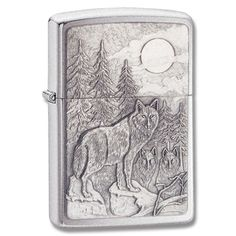 @Overstock.com - Zippo Brushed Chrome Timberwolf Emblem Lighter - This Zippo lighter features a Timberwolf design in a brushed chrome finish. Great for collecting or everyday use, the lighter is refillable with lighter fluid for years of service.http://www.overstock.com/Emergency-Preparedness/Zippo-Brushed-Chrome-Timberwolf-Emblem-Lighter/7903733/product.html?CID=214117$29.99
