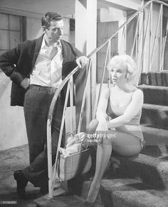 Marilyn Monroe and Yves Montand as Amanda Dell and Jean-Marc Clement in the comedy Let's Make Love. Released in 1960.
