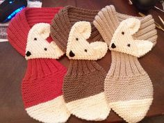 Fox Hand Knit scarf /neck warmer is adjustable for kids and adults. Made with acrylic yarn. The scarf is very cute warm and nice  Size: Kids  Length : 26~29 Body : 3.25  Adult  length: 29-31 Body 3.25  Hand wash in cold, lay flat to dry.