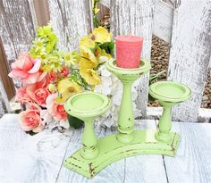 SHABBY CHIC Candle Holder  Tiered Three Candle by HuckleberryVntg, $22.00