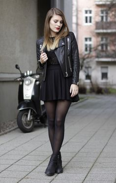 outfit: lace and leather.