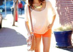 summer fashion orange u glad? Cute Summer Outfits, Cute Outfits, Summer Swag, Summer Shorts, Summer Time, Spring Summer Fashion, Spring Wear, Spring Style, Summer Wardrobe