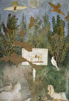 Roman fresco (detail) from the Garden Room of the Casa del Bracciale d'Oro (VI 17, 42) in Pompeii, 50 BCE - 79 CE