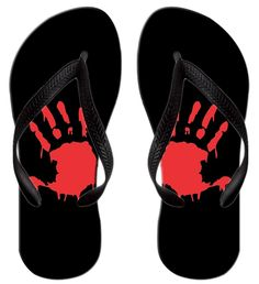 054acdec0 Queen Ali Custom Unisex Printed BLOODY ZOMBIE HAND PRINT(Right Hand) Summer  Beach Flip Flops Sandals -- See this great product.