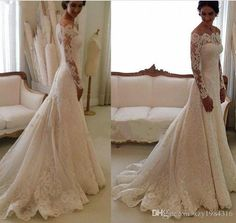 Wholesale bride gowns, brides dress and latest wedding gowns on DHgate.com are fashion and cheap. The well-made off-shoulder long sleeve lace wedding dresses sweep train ruched vintage wedding gowns 2015 spring a line buttons back beige bridal gowns sold by xzy1984316 is waiting for your attention.
