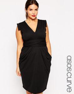ASOS Curve | ASOS CURVE Crepe Dress With Obi Wrap at ASOS