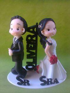 Sr e Sra noivinhos infantilizados | Biscuit com amor | 1BE716 - Elo7