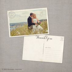 "Vintage Wedding Thank You Postcard - the ""Jacqueline"""