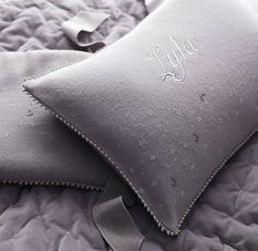 embroidered star details lend a sense of peace and calm to cozy flannel bedding. #rhbabyandchild